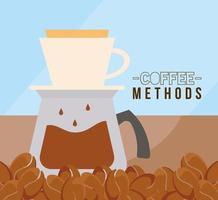 métodos de café con diseño de vector de olla y frijoles