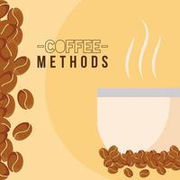 Métodos de café con diseño de vector de taza y frijoles