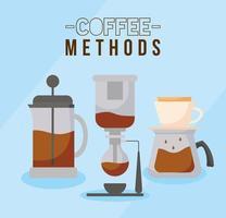 métodos de café con máquina de sifón, prensa francesa y diseño de vector de olla