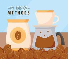coffee methods with bean bag and pot vector design