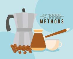 Métodos de café con diseño de vector de olla, taza, tetera y frijoles turcos