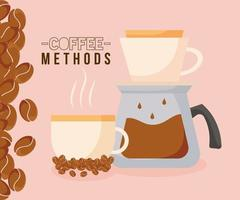 métodos de café con diseño de vector de olla, taza y frijoles