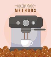 Métodos de café con diseño de vector de taza y frijoles de máquina