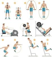 Gym exercises machines sports equipment. Vector Illustration.