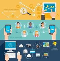 Banner plano de tecnología de redes sociales. ilustración vectorial. vector