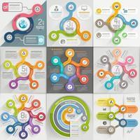 conjunto de plantillas de infografías. ilustración vectorial. se puede utilizar para diseño de flujo de trabajo, banner, diagrama, opciones numéricas, diseño web, elementos de la línea de tiempo vector