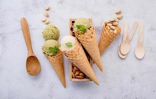 Pistachio and matcha ice cream