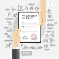 Insurance policy services. Hands give insurance document paper. Vector Illustrations.