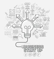 Business start up concept doodles icons set. Light bulb head shape with cord. Vector illustration.