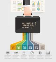 Business start up planning conceptual design. Businessman hand holding briefcase bag. Vector illustration.