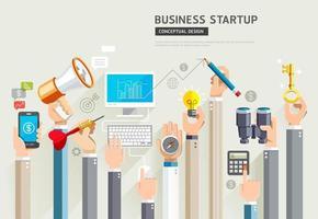 Business start up conceptual design. Set of business hands services. Vector Illustrations.