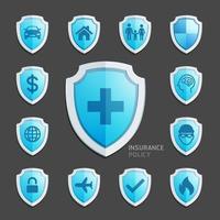 diseño de icono de escudo azul de póliza de seguro. ilustraciones vectoriales.