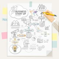 Business start up planning conceptual doodles icons. Businessman hand holding a pencil and writing. Vector illustration.