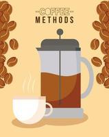 métodos de café con diseño de vector de prensa francesa, taza y frijoles
