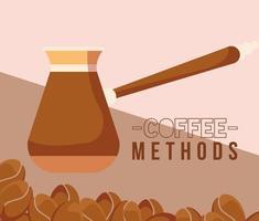 Métodos de café con diseño de vector de olla y frijoles turcos