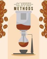 métodos de café con taza, máquina de sifón y diseño vectorial de frijoles vector