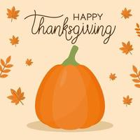 happy thanksgiving day with pumpkin and leaves vector design