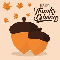 happy thanksgiving day with acorns and leaves vector design