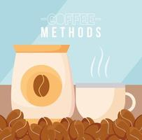 coffee methods with bean bag and cup vector design