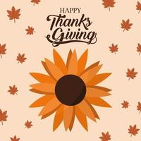 happy thanksgiving day with sunflower vector design