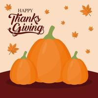 happy thanksgiving day with pumpkins and leaves vector design