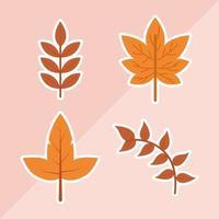 diseño de vector de conjunto de hoja de otoño