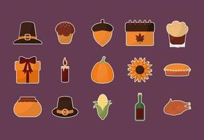 happy thanksgiving day icon set vector