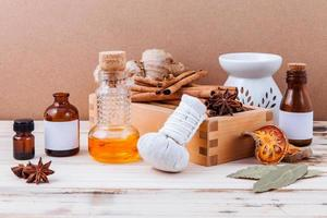 Essential oils and herbal compress photo