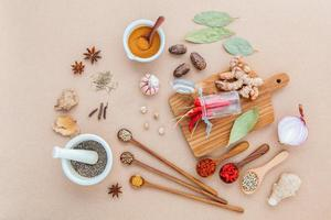 Top view of assorted herbs and spices photo