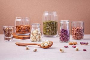Legumes and nuts in jars