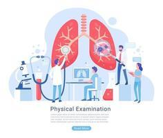 Ilustración de vector de examen y tratamiento del sistema físico y respiratorio.