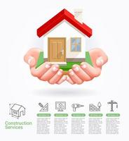 Construction services concept two hands with house vector illustrations.