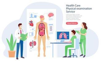 Ilustración de vector de servicio de examen de sistema físico de atención médica.