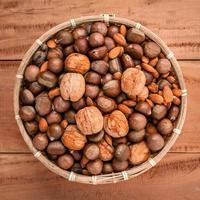 Bowl of mixed nuts top view