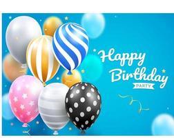 Fiesta de tarjeta de feliz cumpleaños con globos set ilustraciones vectoriales. vector