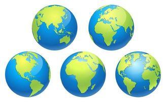 conjunto de mapa de tierra del globo del mundo. ilustraciones vectoriales. vector