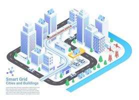 Smart grid cities and buildings isometric vector illustrations.