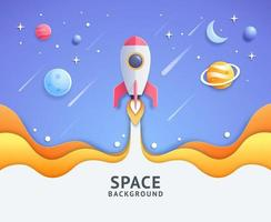 Blue space galaxy with cartoon rocket leaving white trail vector illustration.