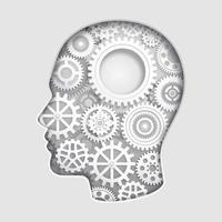 mente de la cabeza del hombre pensando con símbolos de engranajes ilustraciones vectoriales de corte de papel.