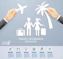 diseño conceptual de servicios de póliza de seguro de viaje. mano sosteniendo un viaje de corte de papel. ilustraciones vectoriales.