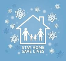 Stay home save lives paper cut style vector illustrations.