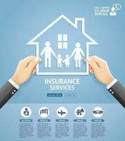 Insurance policy services conceptual design. Hand holding a paper family in house. Vector Illustrations.