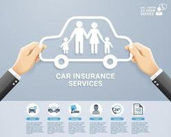 Insurance policy services conceptual design. Hand holding a paper family in car. Vector Illustrations.