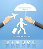 diseño conceptual de servicios de póliza de seguro de viaje. mano que sostiene el estilo de corte de papel de avión y paraguas. ilustraciones vectoriales.