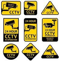 CCTV video surveillance security camera sticker. Vector illustrations.