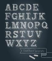 Chalkboard typography alphabet doodle style vector illustration.