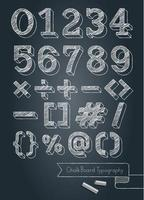 Chalkboard typography numbers and symbols doodle style vector illustration.
