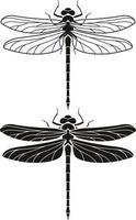 Conjunto de iconos de silueta de libélula. ilustraciones vectoriales. vector