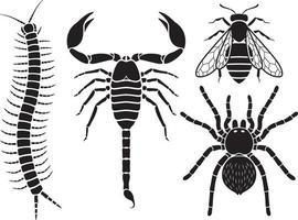 Conjunto de iconos de insectos venenosos. ilustraciones vectoriales.