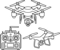 Conjunto de iconos de línea de silueta de drone. ilustración vectorial.